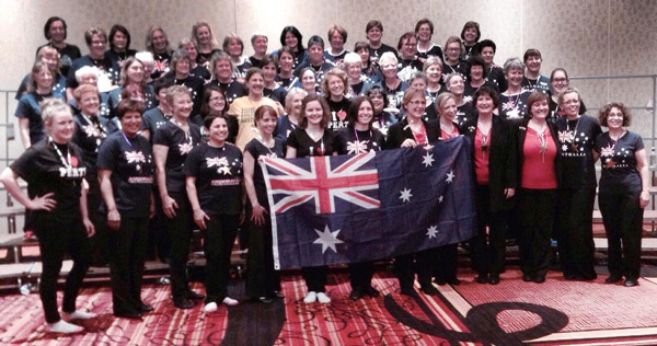 The Aussie contingent - we pose with Perth Harmony and Broadband before the Quartet Semifinals.